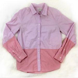 J. Crew Boy Fit Pink Colorblock Button Down Shirt